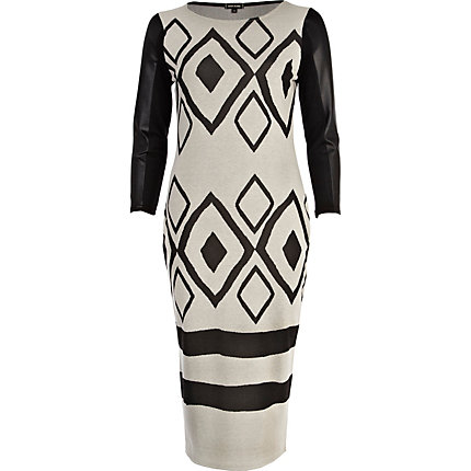 Beige leather-look sleeve geometric dress