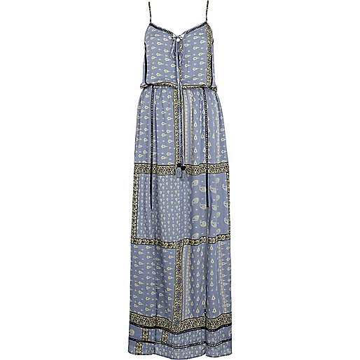 Blue paisley border print cami maxi dress