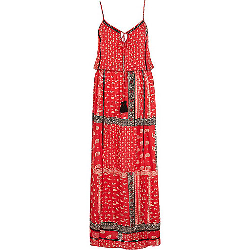 Red paisley border print cami maxi dress