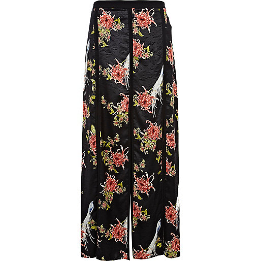 Black oriental print split panel maxi skirt