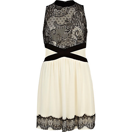 Cream lace panel high neck dress