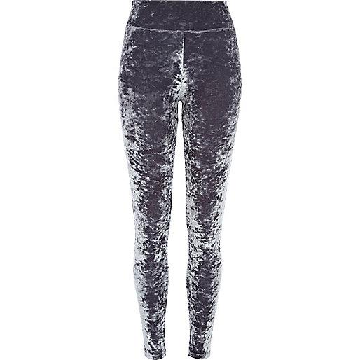 Dark grey crushed velvet leggings