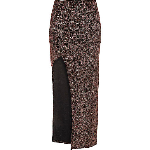 Bronze sparkle thigh split maxi skirt