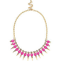 Pink spike short statement necklace