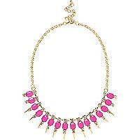 Pink spike short statement necklace