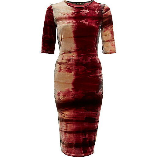 Red tie dye velvet half sleeve column dress