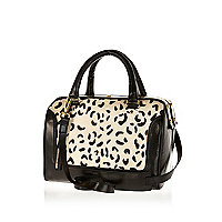Black animal print pony hair bowler bag