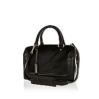 Black leather and ponyskin bowler bag