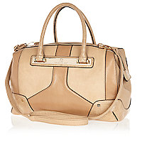 Beige colour block doctors bag