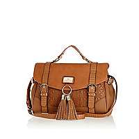 Tan quilted tassel satchel