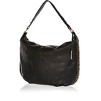 Black leather chain trim slouch bag
