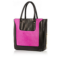 Black leather pony hair panel tote bag
