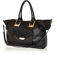 Black pocket front tote bag
