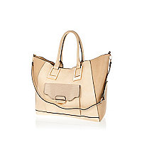 Cream pocket front tote bag