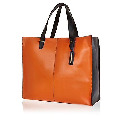 Orange colour block leather tote bag