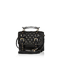 Black quilted leather mini satchel