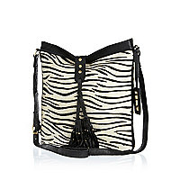 Black zebra print leather cross body bag