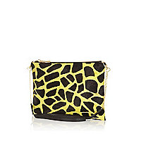 Lime giraffe pony skin cross body bag