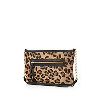 Brown leopard print pony hair cross body bag