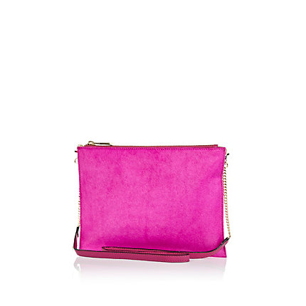 Bright pink pony skin cross body bag