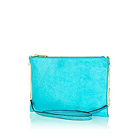 Turquoise pony skin cross body bag