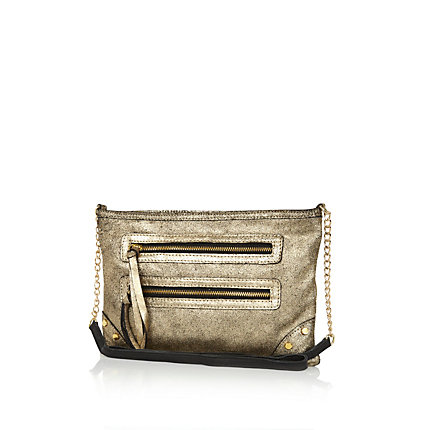 Gold metallic suede cross body bag