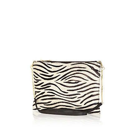 Cream zebra print pony hair cross body bag