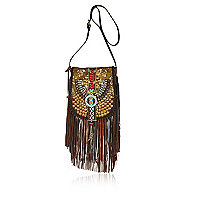 Brown leather tribal cross body bag