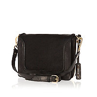Black leather pony hair panel cross body bag
