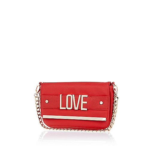 Red love curb chain clutch bag