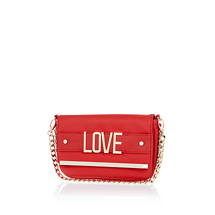 Red love curb chain clutch bag