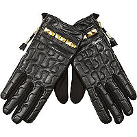 Black leather RI quilted studded gloves