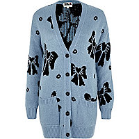 Blue Chelsea Girl bow cardigan
