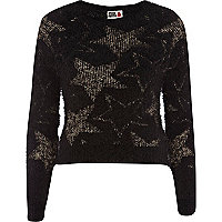 Black Chelsea Girl star eyelash jumper
