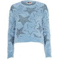 Blue Chelsea Girl eyelash star jumper