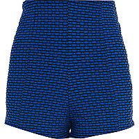 Black and blue jacquard high waisted shorts