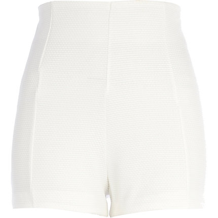 Cream textured high waisted shorts
