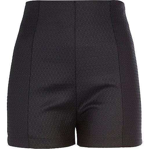 Black coated high waisted shorts