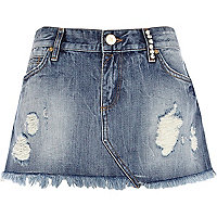 Mid wash ripped denim mini skirt