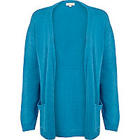 Blue unfastened cardigan