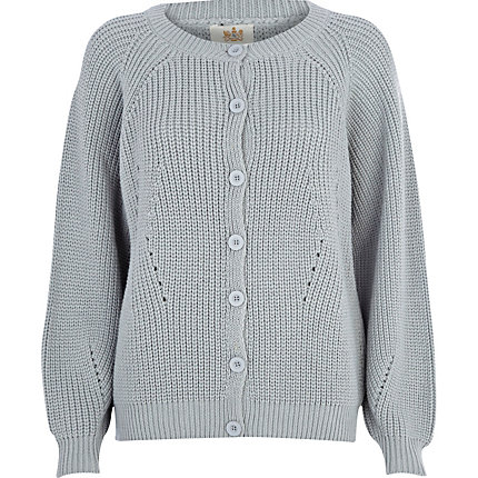 Grey chunky fisherman cardigan