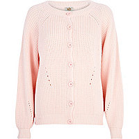 Light pink chunky fisherman cardigan