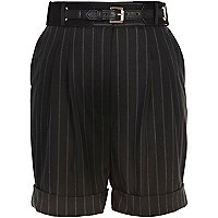 Black pinstripe belted tailored shorts