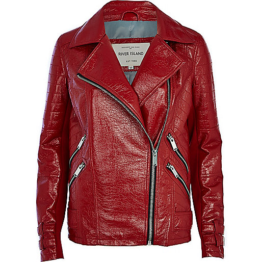 Red patent biker jacket