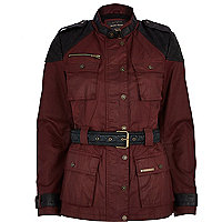 Dark red waxed padded jacket