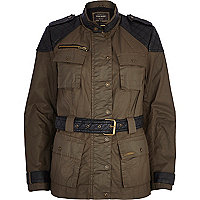 Khaki waxed padded jacket