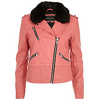 Pink faux fur collar biker jacket