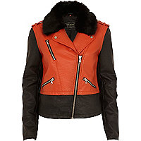 Orange colour block biker jacket