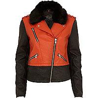 Orange colour block biker jacket