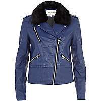 Blue faux fur collar biker jacket